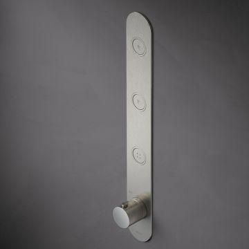Hotbath Cobber afbouwdeel voor inbouwthermostaat met 3 pushbuttons geschikt voor verticale plaatsing, geborsteld messing