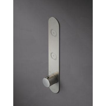 Hotbath Cobber afbouwdeel voor inbouwthermostaat met 2 pushbuttons geschikt voor verticale plaatsing, chroom
