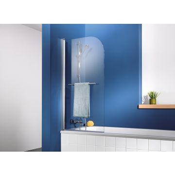 HSK Exklusiv badwand 1-delig montagezijde links 75x140 cm, alu zilver-mat