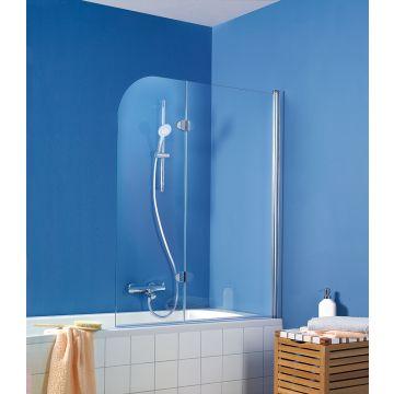 HSK Exklusiv badwand 2-delig Edelglas montagezijde links 114x140cm, chroom