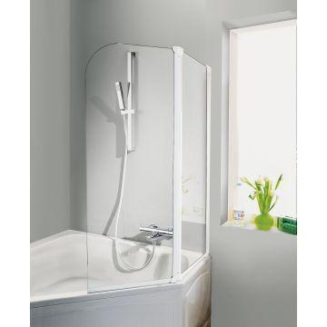 HSK Favorit badwand 2-delig veiligheidsglas 114x140cm, alu zilver-mat