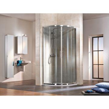 HSK Favorit schuifdeur kwartrond Edelglas 90x90x185cm, alu zilver-mat