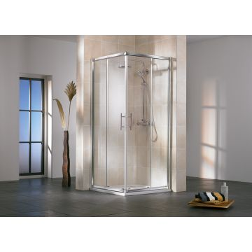 HSK Favorit hoekinstap 4-delig veiligheidsglas 90-90x185cm, alu zilver-mat