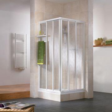 HSK Favorit hoekinstap 3-delig kunststofglas 73,5-90x73,5-90x185cm, alu zilver-mat