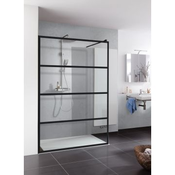 HSK Walk In Pro inloopdouche Edelglas Dekor Loft 2 frame 100cm, zwart