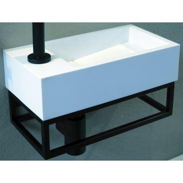 Luca Sanitair Steel Frame fonteinset met mat witte opzetkom 34 x 18,5 x 18 cm, zwart