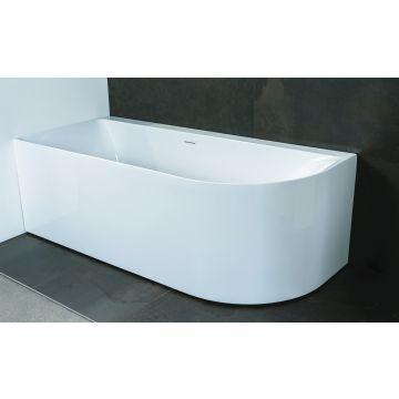 Luca Sanitair Primo ovaal half vrijstaand hoekbad links van acryl inclusief afvoerset chroom 180 x 80 x 60 cm, glanzend wit