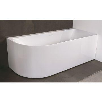Luca Sanitair Primo ovaal half vrijstaand hoekbad rechts van acryl inclusief afvoerset chroom 180 x 80 x 60 cm, glanzend wit