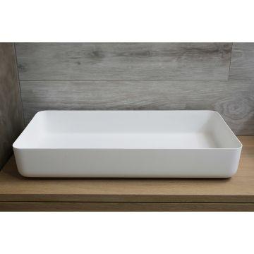 Luca Sanitair Luva rechthoekige opzetwastafel met dunne randen van solid surface 80 x 40 x 13,5 cm, mat wit