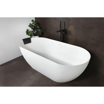 Luca Sanitair Vasca vrijstaand bad met dunne randen van solid surface inclusief afvoerset chroom 175 x 80 x 58 cm, mat wit