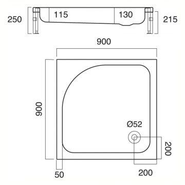 Sealskin Get Wet Optimo douchebak vierkant met voorpaneel 900x900 mm, wit