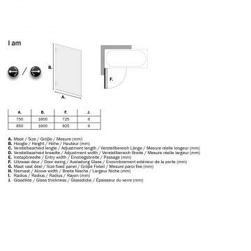 Sealskin Get Wet I AM badwand 1-delig 850x1600 mm Chroom/zilver hoogglans helder glas + antikalk
