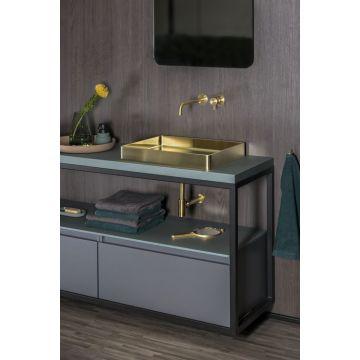 Sub Vanity wastafel 52x41x7 cm met pop up-plug, zonder kraan, gold
