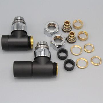 """Instamat Cylinder aansluitset ½"""", haaks, zwart"""