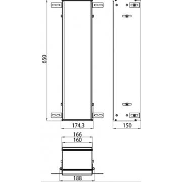 Emco Asis montageframe voor toiletmodule 65 cm, aluminium