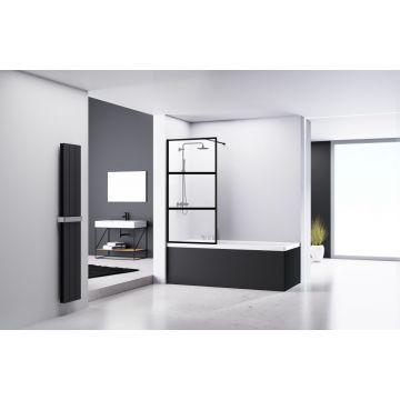 Van Rijn badwand 160 cm x 80 cm, 3-vaks, 8 mm helder glas incl. glasbehandeling, zwart aluminium profiel