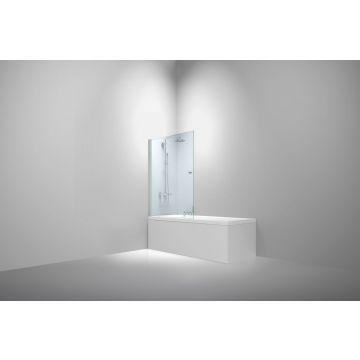 Van Rijn badwand 150 cm x 80 cm, 6 mm helder glas incl. glasbehandeling, chromen profiel