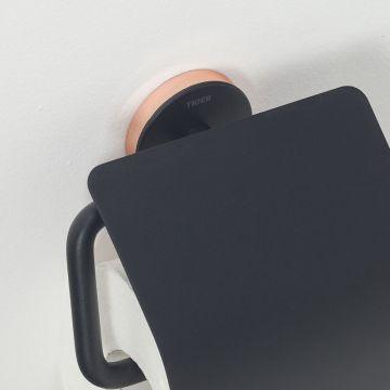 Tiger Urban toiletrolhouder met klep 13,8x12,6x4,5 cm, zwart