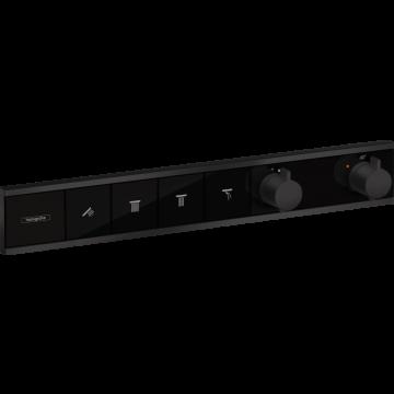 Hansgrohe RainSelect afdekset inbouwthermostaat met 4 functies, mat zwart