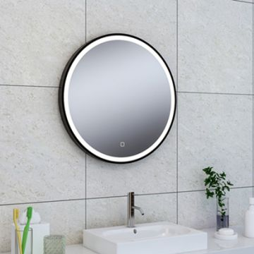 Wiesbaden Maro spiegel met LED verlichting en anticondens ø 80 cm, mat zwart