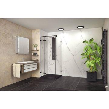 HSK RenoDeco designpaneel 100x255cm 3mm dik marmer, Carrara-wit