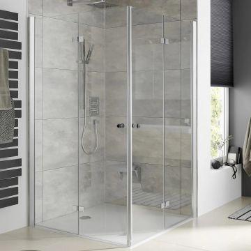 HSK Atelier Plan hoekinstap, 2 draaivouwdeuren pendelbaar, 100x100x200cm, chroom