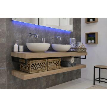 LoooX Wooden Base Shelf Duo 200 cm met handdoekhouders RVS, old grey eiken