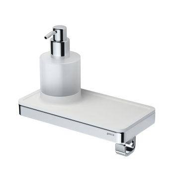 Geesa Frame planchet met zeepdispenser en haak, chroom