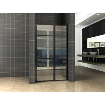 Wiesbaden Horizon nisdeur met vast paneel mat zwart 120 cm, 8 mm NANO-glas
