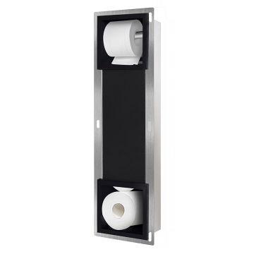 Sub inbouw toiletrolhouder in combinatie met reserverolhouder 74 x 20,8 x 14,8 cm, mat zwart