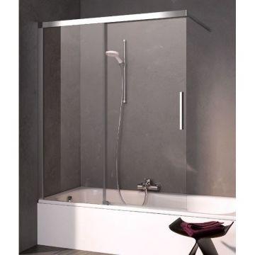 Kermi Nica schuifdeur voor bad links 100x150, zilver glans-helder glas