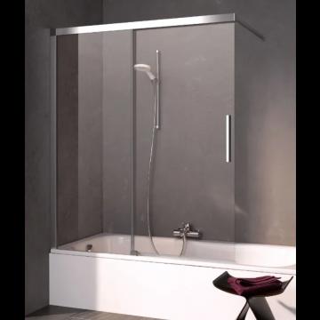 Kermi Nica schuifdeur voor bad rechts 120x150, zilver glans-helder glas