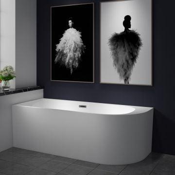 Sub 200 bad half-vrijstaand met paneel hoek links 180x80cm, wit