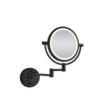 Wiesbaden Home scheerspiegel ø 20 cm met LED-verlichting, matzwart