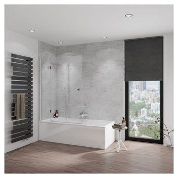 HSK Aperto badwand, pendelbaar, 3-delig, Edelglas, montagezijde links, 114x150 centimeter
