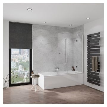 HSK Aperto badwand, pendelbaar, 3-delig, Edelglas, montagezijde rechts, 114x150 centimeter