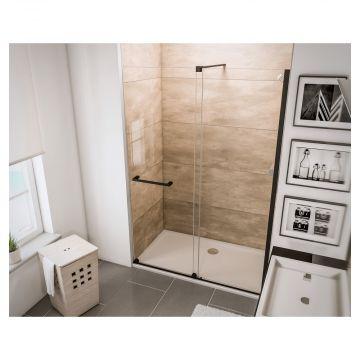 HSK Aperto schuifdeur voor nis montagezijde rechts 160 x 200 cm, ESG helder glas, zwart-mat