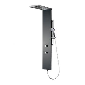 HSK Lavida plus douchepaneel verkort met vrijhangende regentraverse en waterval, RVS-wit glas