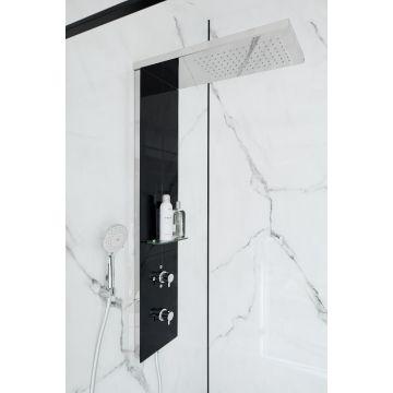 HSK Lavida Wall 2.0 douchepaneel verkort met vrijhangende regentraverse, RVS-zwart glas