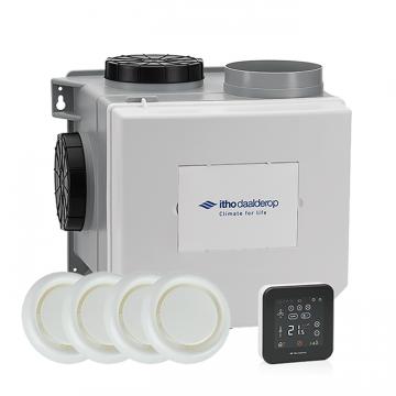 Itho Daalderop CVE-S ECO alles-in-1 ventilatiepakket, ventilatievermogen 375 m3/uur met vochtsensor en Spider Base-thermostaat