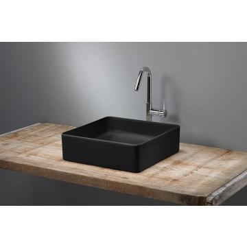 Sub 162 vierkant fontein zonder kraangat en overloop 24 x 24 x 12 cm, mat zwart