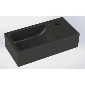 Sub 68 rechthoekig fontein met kraangat rechts 40 x 20 x 10 cm, mat zwart