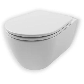 Sub 10 hangend toilet spoelrandloos verkort model 35 x 35,5 x 48 cm, wit