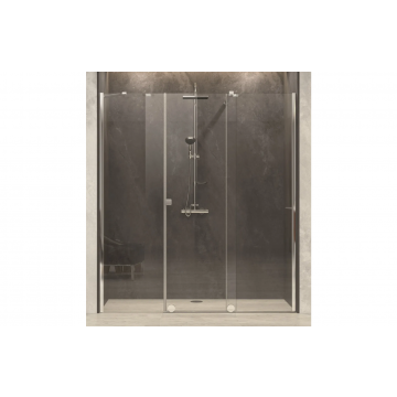 Sub 63 schuifdeur met 2 vaste panelen 200-220 x 200 cm, chroom