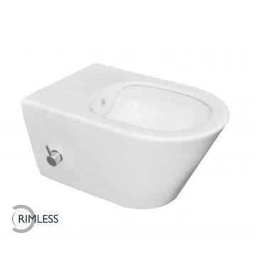 Wiesbaden Luxe Rimless hangend toilet met ingebouwde bidetkraan, wit