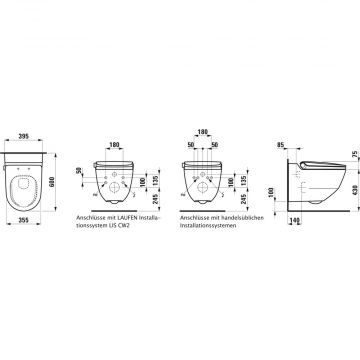 Laufen Cleanet Riva douche wc rimless, mat wit