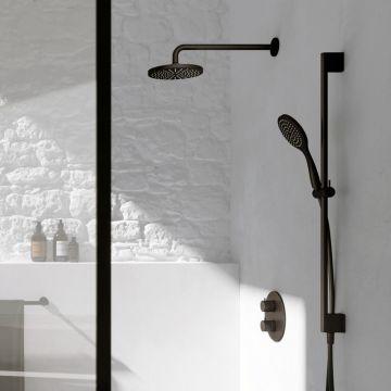 Hotbath Get Together doucheset met thermostatische 2-weg-omstel met 3 standen-handdouche, 30 cm hoofddouche, geborsteld nikkel