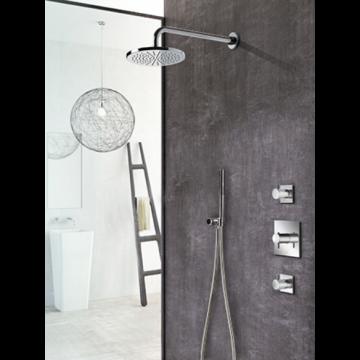 Hotbath Get Together doucheset met 2 stopkranen met 30 cm plafondbuis, 20 cm hoofddouche vierkant, geborsteld nikkel