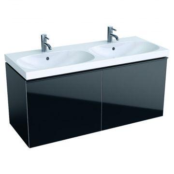 Geberit Acanto wastafelonderkast 2 laden front glas 119 cm, glans zwart