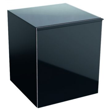 Geberit Acanto lage kast 45 cm 1 lade front glas, zwart